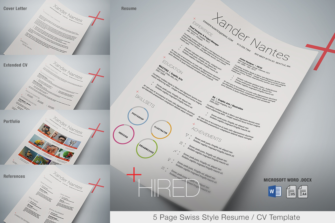 Hired - Microsoft Word Resume Template - Swiss Style 5-Page Resume ...
